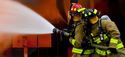 Public Safety, firefighter putting out fire